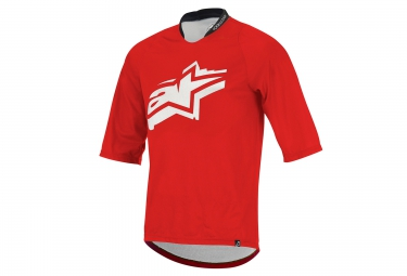 maillot manches 3 4 alpinestars totem rouge
