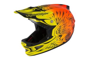 casque integral troy lee designs d3 carbon mips 2016 orange jaune