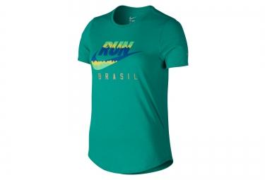 t shirt femme nike running vert