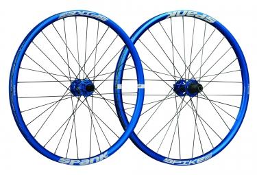 paire de roues spank spike race 33 bead bite 27 5 av 20x110mm ar 12x135mm bleu