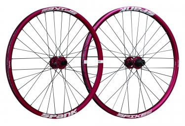 paire de roues spank spike race 33 bead bite 27 5 av 20x110mm ar 12x150mm rouge