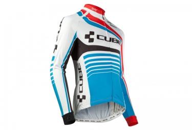maillot manches longues cube teamline blanc bleu