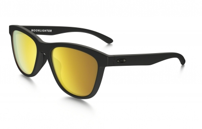 lunettes femme oakley moonlighter noir mat jaune iridium polarise ref oo9320 10