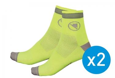 endura pack de 2 paires de chaussettes luminite jaune