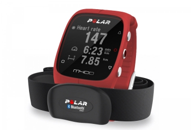 polar montre m400 gps hr avec ceinture cardiaque rouge