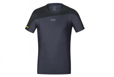 maillot manches courtes gore running wear fusion noir gris