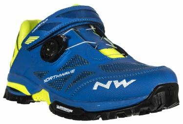 paire de chaussures vtt northwave enduro mid bleu jaune