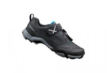 paire de chaussures vtt shimano mt500 noir bleu