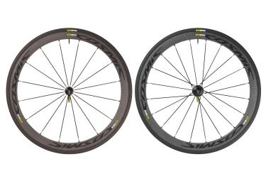paire de roues mavic 2017 cosmic carbone 40 elite noir shimano sram yksion pro 23mm