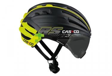 casque aero casco speedairo rs avec visiere vautron noir mat neon yellow