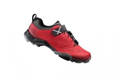 paire de chaussures vtt shimano mt500 rouge