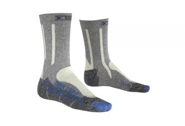 paire de chaussettes femmes x socks trekking light gris bleu