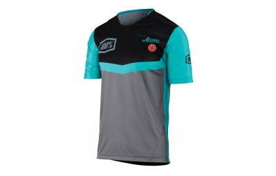 maillot manches courtes 100 airmatic fast times gris vert