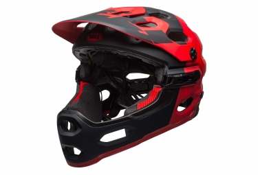 casque integral bell super 3r rouge noir mat