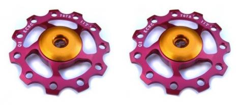 kcnc paire de galets de derailleur rouge roulements ceramique 9 10v