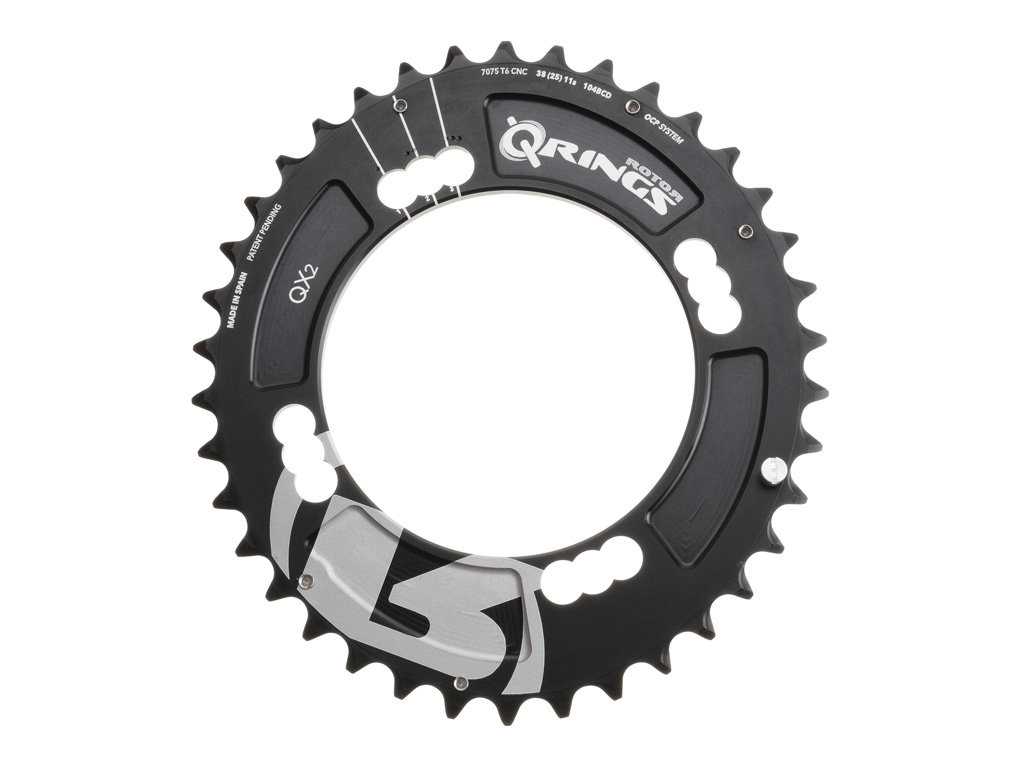 Rotor plateau vtt ext rieur q ring xc2 104mm bcd noir for Exterieur rind