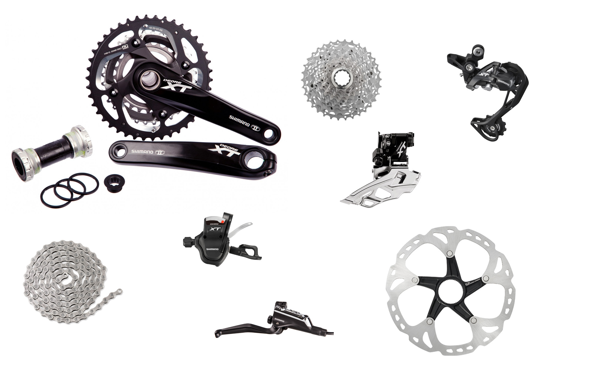 """Shimano XT M 10sp Complete Double Groupset SHIMANO DEORE XT, the world's first mountain biking component group is completely revamped for its 30th birthday. From the early days until today, """"XT"""" has been the benchmark in mountain bike component technology, excelling in quality, innovation and performance combined with an extensive."""