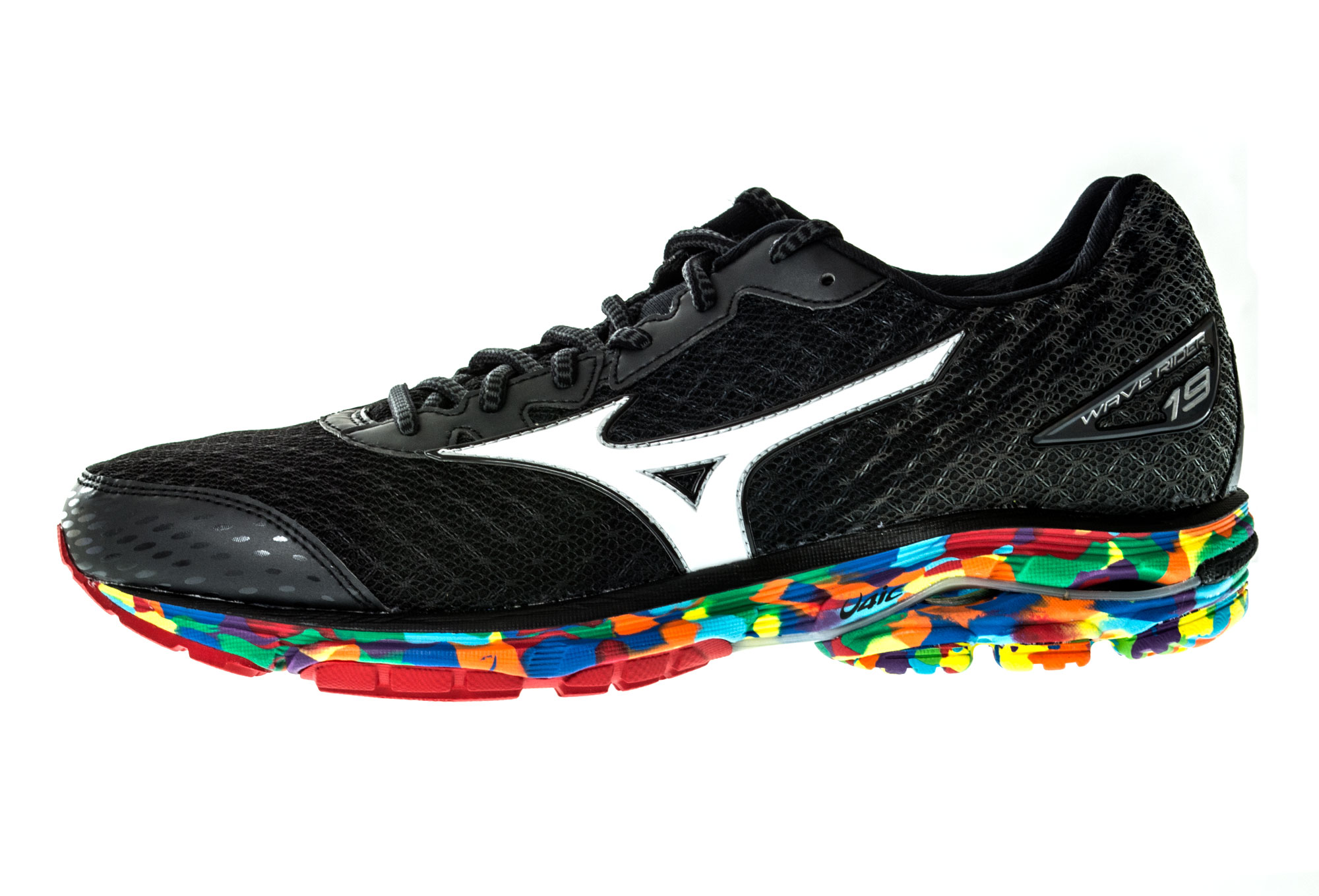 mizuno shoes wave rider 19 black multi color men. Black Bedroom Furniture Sets. Home Design Ideas