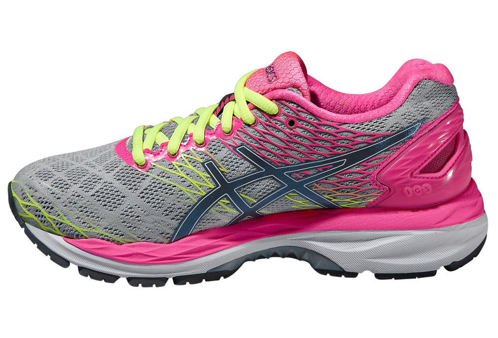 asics running shoes woman gel nimbus 18 silver pink. Black Bedroom Furniture Sets. Home Design Ideas