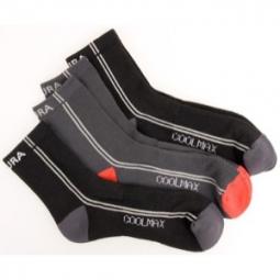 ENDURA Pack de 3 Paires de Chaussettes COOLMAX STRIPE Noir