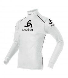 ODLO Maillot manches longues WARM LOGO Col Montant Blanc
