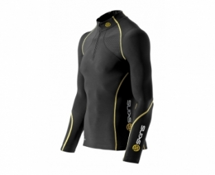 SKINS Maillot Manches Longues A200 THERMAL + ZIP Noir Jaune