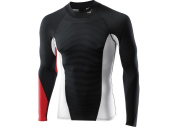 MIZUNO Maillot manches longues VIRTUAL BODY G1-TS col cheminée Noir/Rouge TS