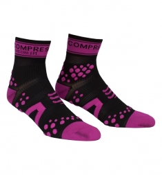 COMPRESSPORT paire de chaussettes RACING SOCKS V2 Noir Rose