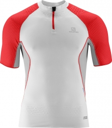 SALOMON T SHIRT Homme S-LAB EXO ZIP Blanc Rouge