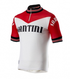SANTINI 2015 Maillot Manches courtes WOOL Heritage Rouge/Blanc