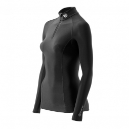SKINS Maillot Thermal Compressif manches longues+ Zip Femme A200 Noir