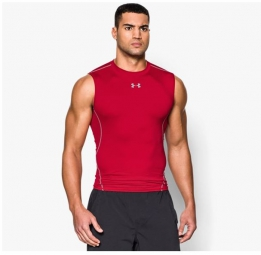 UNDER ARMOUR T-Shirt Compression Sans Manches HEATGEAR ARMOUR Rouge
