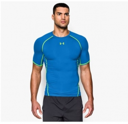 UNDER ARMOUR T-Shirt Compression Manches Courtes HEATGEAR ARMOUR Bleu