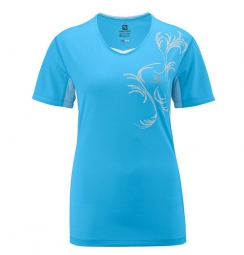SALOMON T-Shirt START Femme Bleu