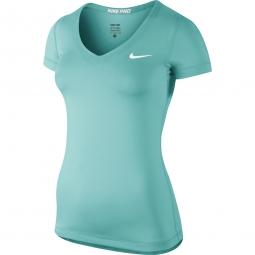 NIKE T-Shirt PRO FITTED SHORT-SLEEVE Bleu Femme