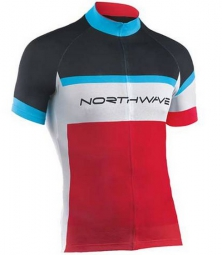 NORTHWAVE Maillot LOGO KID Short Sleeves Noir Rouge Bleu