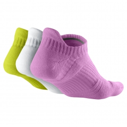 NIKE Chaussettes DRI-FIT CUSHION NO-SHOW TAB Jaune Blanc Rose 3 paires