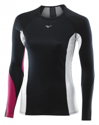MIZUNO Maillot manches longues VIRTUAL BODY G1 col rond Noir Rose Femme