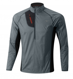 MIZUNO Veste Trail BREATH THERMO HYPER WINDTOP Gris Noir