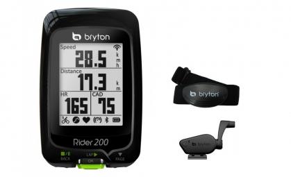 BRYTON Compteur GPS RIDER 200T + Ceinture Cardiaque/Capteur de cadence