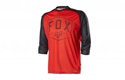 FOX Maillot FLOW Manches 3/4 Rouge Noir