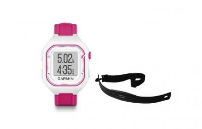 GARMIN Montre GPS FORERUNNER 25 Pack HRM Blanc/Rose