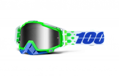 100% Masque RACECRAFT ALCHEMY Vert Ecran Iridium Silver
