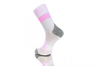 Paire de chaussette RAFA´L Carbone Celeste 2 Blanc Rose Fluo