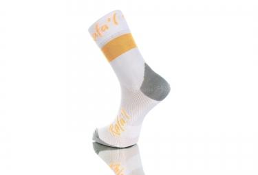 Paire de chaussette RAFA'L Carbone Celeste 2 Blanc Orange Fluo