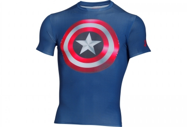 UNDER ARMOUR ALTER EGO Compression Short Sleeves Jersey Captain America Blue