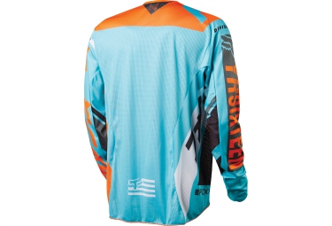 FOX Maillot manches Longues DEMO LS AQUA Orange Bleu