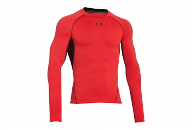 UNDER ARMOUR HEATGEAR ARMOUR Long Sleeves Compression Jersey Red Black