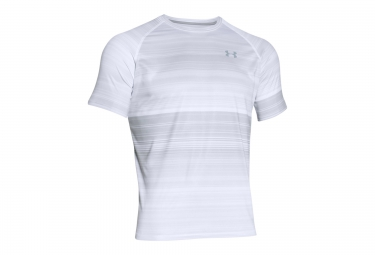 UNDER ARMOUR Maillot Manches Courtes TECH PATTERNED Blanc Gris