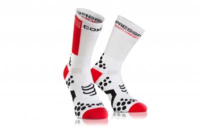 COMPRESSPORT Paire de chaussettes PRO RACING SOCK V2.1 BIKE Blanc Rouge
